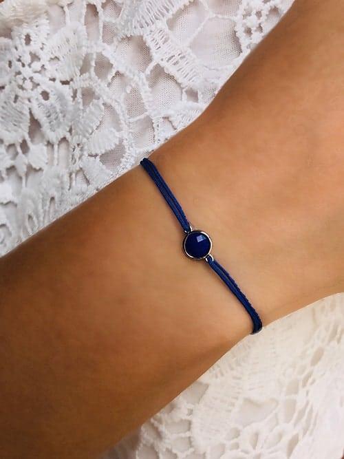 Bracelet cordon Pierre bleue 925grammes.com