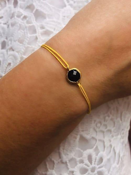Bracelet cordon Pierre noire 925grammes.com