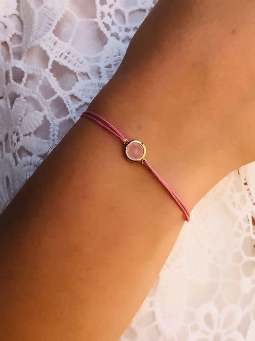 Bracelet cordon Pierre rose 925grammes.com