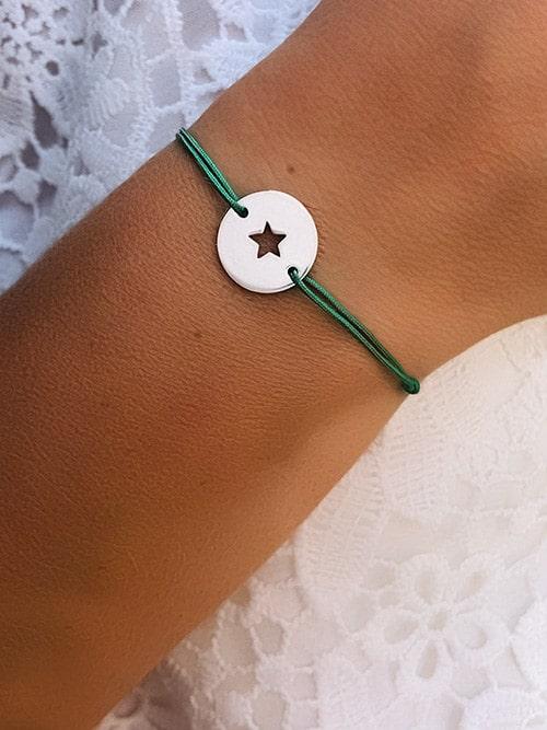 Bracelet cordon Plaque étoile 925grammes.com