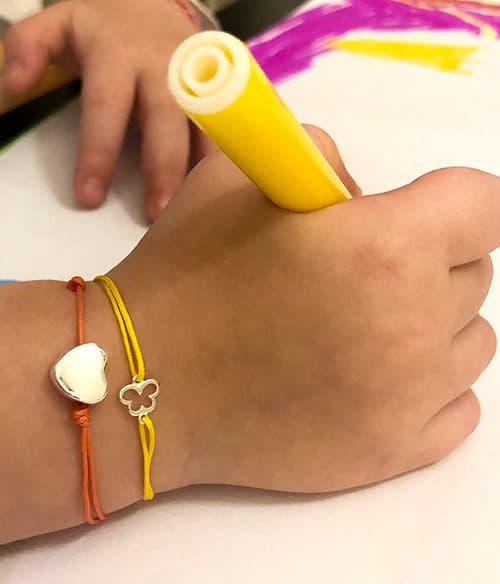 Bracelet cordon petit coeur et petit papillon Collection enfant 925 grammes