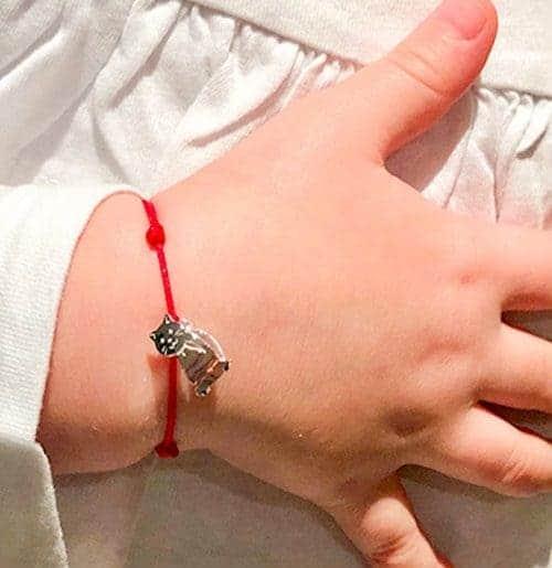 Bracelet cordon petit chat enfant 925 grammes