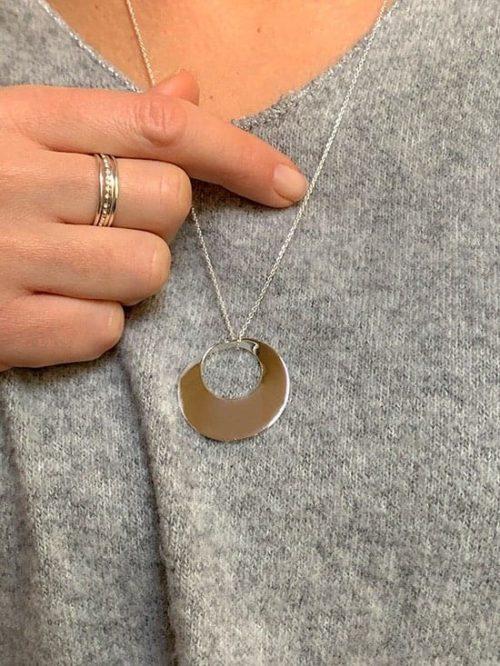 Collier chaîne anneau incurvé 925 grammes