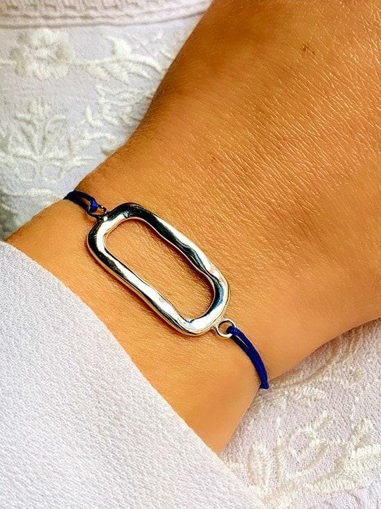 Bracelet cordon rectangle Argent 925 grammes