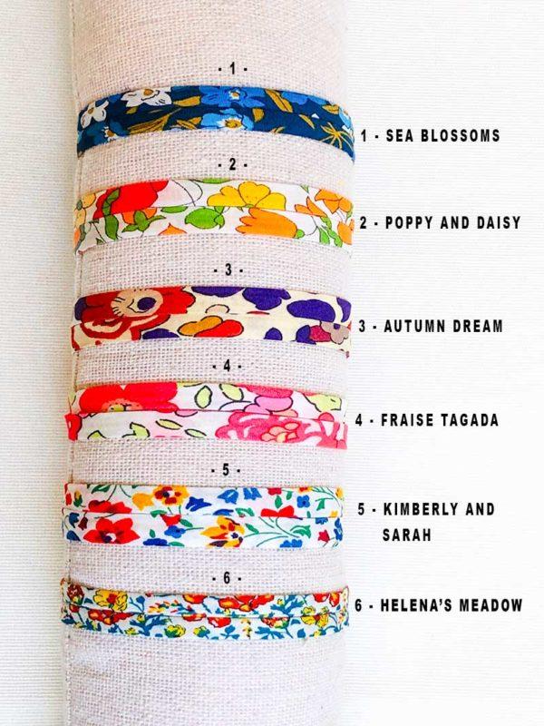 Nuancier couleur pour bracelets cordon en Liberty
