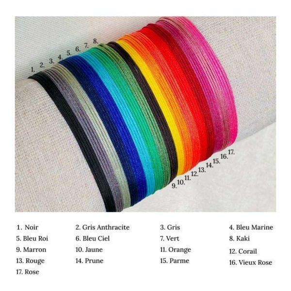 Nuancier de couleur pour les cordons